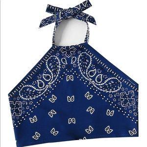 Tops - Blue bandana tie crop